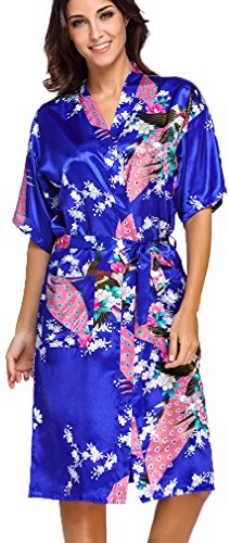 FLYCHEN Donna Accappatoi Vestaglie e Kimono in Raso festa di nozze Camicie da Notte Blu