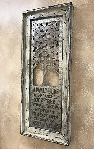 FAMILY TREE Framed Metal Rustic Cream 40'' Living Room Wall Decor *Works great to hang with Family Photos* Pictures by Wooden Hearts