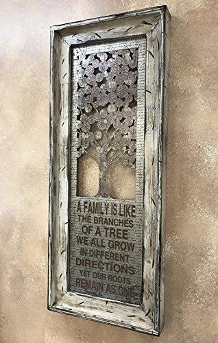FAMILY TREE Framed Metal Rustic Antique White Cream 40