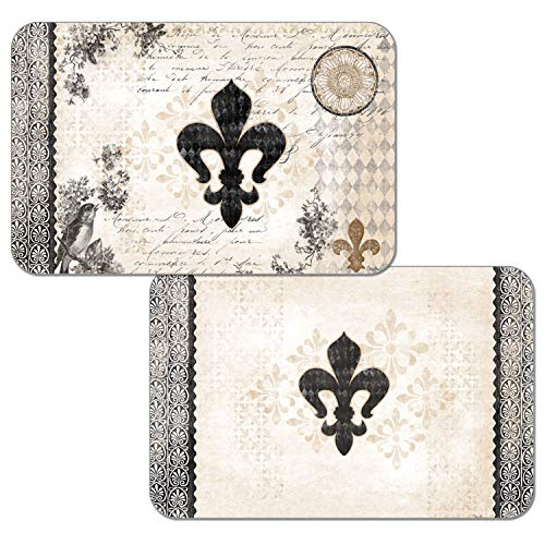 Counterart French Fleur De Lis Reversible Washable Vinyl Placemats Set of Four ()