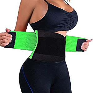 VENUZOR Waist Trainer Belt for Women - Waist Cincher Trimmer - Slimming Body Shaper Belt - Sport Girdle Belt (UP Graded) (Medium, Green)