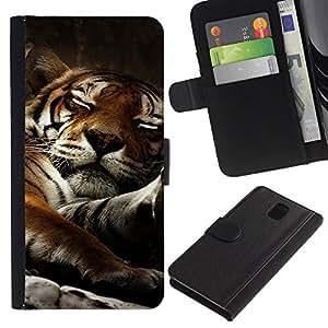 Be Good Phone Accessory // Caso del tirón Billetera de Cuero Titular de la tarjeta Carcasa Funda de Protección para Samsung Galaxy Note 3 III N9000 N9002 N9005 // Tiger Sleepy Big Cat Cute Animal Nature