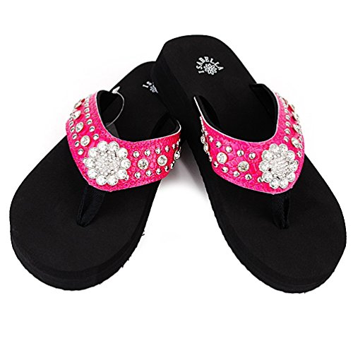 Isabella Western Rhinestone Large Concho Blingbling Flip Flops in 6 Colors (Medium, Hot Pink) -