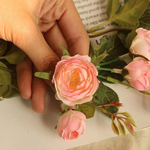 Fine Artificial Peony Flower for Wedding Party Home Decor Fake Flowers Bridal Bouquet Tea Rose Artificial Flower (Pink)