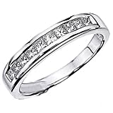 0.75 Carat (ctw) 14k White Gold Princess Diamond Ladies Anniversary Wedding Stackable Ring Band 3/4 CT (Size 9)
