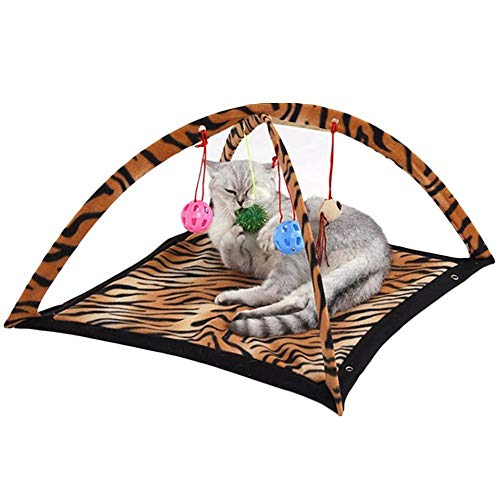 Cookisn Pet Play Cat Tent Bed Funny Colorful Kitten Pad Cushion Exercise Folding Toy Cat Hammock Bed for Cat Bed Ladybird Stripe Leopard Leopard 61x61x34cm