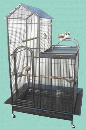 "Oahu Oasis Playtop Parrot Cage - 36"" X 26"" X 66"" - Black Vein by BirdCages4Less"