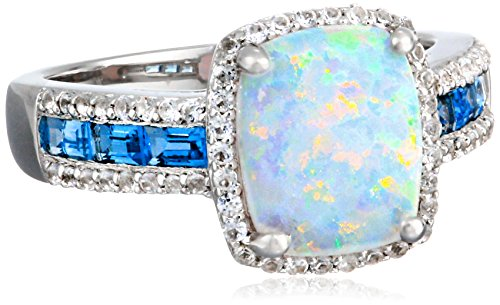 Sterling Silver, Created Opal, Swiss Blue Topaz, and Created White Sapphire Ring, Size 7