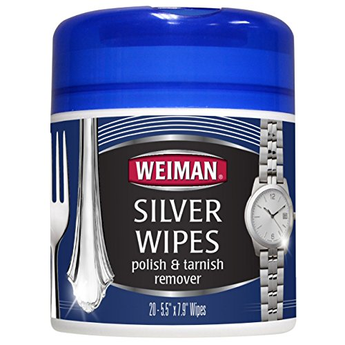 Price comparison product image Weiman Silver Wipes for Cleaning and Polishing Silver Jewelry, Sterling Silver, Silver Plate and Fine Antique Silver - 20 count