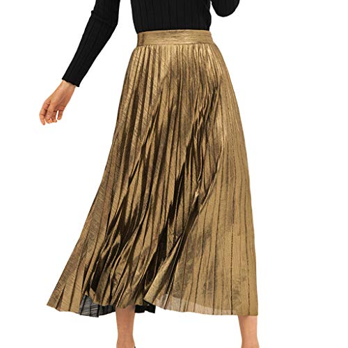 VEZAD Fashion Elastic Beach A-Line Skirt Women Plain Pleated Elegant Mid-Waist Stretch Skirt