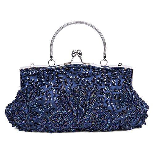 Baglamor Moda Bolso Bolso de Invierno Bolso con Beso Cerradura Bolso de Abalorios Bolso de Noche de Satén Azul