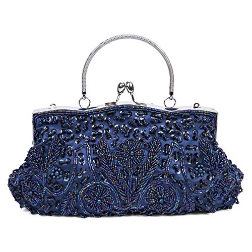 Kisschic Vintage Beaded Sequin Design Clutch Purse Evening Bag (Navy Blue)