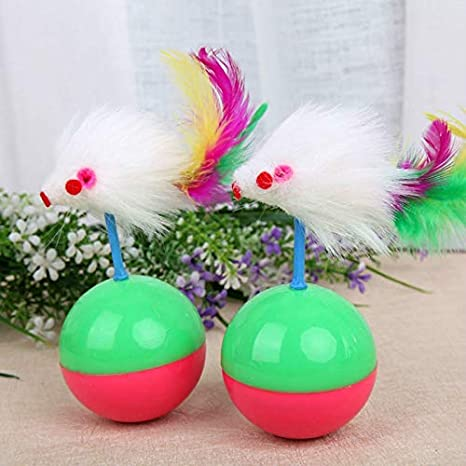 Amazon.com : Best Quality pet Tumbler cat Toys Play False Creative Feather Cute Mouse Toy Roly-Poly Ball Supplies : Pet Supplies