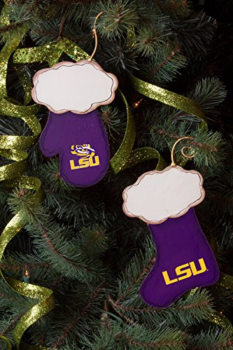 LSU Stocking and Mitten Christmas Ornament Set