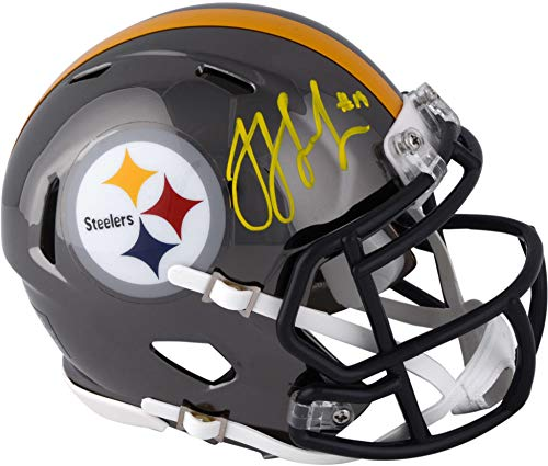 Steelers Pittsburgh Authentic Autographed Helmet - JuJu Smith-Schuster Pittsburgh Steelers Autographed Riddell Chrome Alternate Speed Mini Helmet - Fanatics Authentic Certified