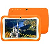 7 Kids Tablet PC, Android 4.4 4GB ROM 512MB RAM Tablet Dual Camera WiFi USB Phablet Silicone Case