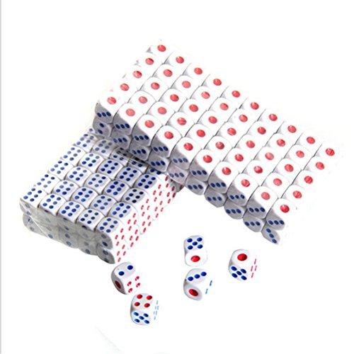 10/100 Paquet 15mm Blanc Caractère en plastique commun Dat de côté à six côtés Dat de casino