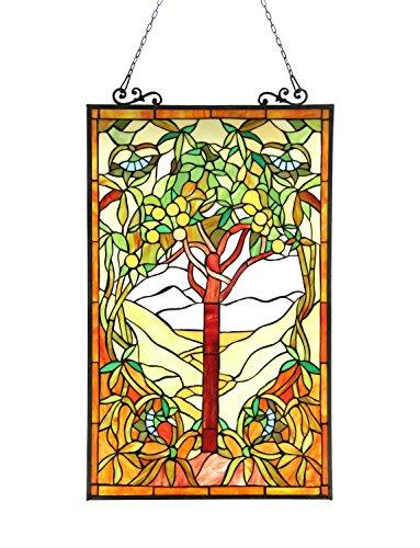 - Chloe Lighting 20x32 Olea Tiffany-Glass Fruits of Life Window Panel, 20