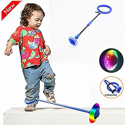 Kid Fitness One-Legged Jump Flash Children Jumping Ring Dancer Bouncing Ball Thrown Foot Ball with Sponge Rings Toy