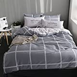 Luxury hotel quality duvet cover set with 2 pillow shams navy and white stripe lattice bedding collection bed sheet -E Queen1