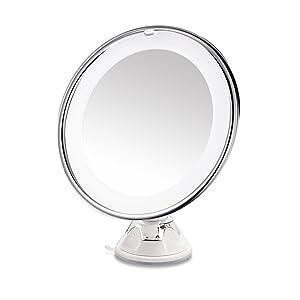 RUIMIO Espejo Maquillaje con Luces de Aumento 7x y Base de Ventosa