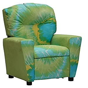 Toddler Upholstered Recliner Armchair With Cup Holder - Your Child Will Love Having Their Own Reclining Chair - 2 Tie Dye Fabric Choices (Green Tye Dye Sunburst)