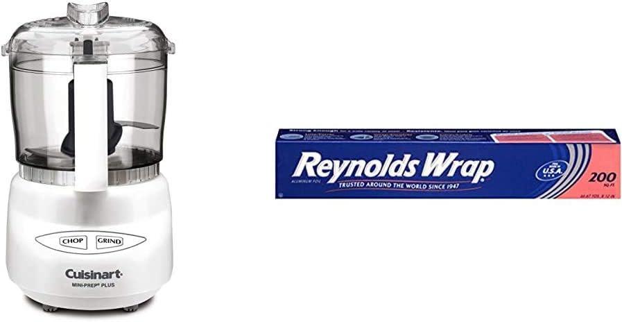 Cuisinart DLC-2A Mini-Prep Plus Food Processor (White) & Reynolds Wrap Aluminum Foil (200 Square Foot Roll), 1 Count