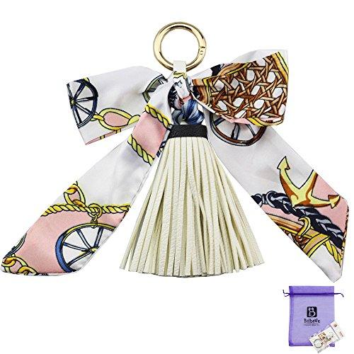Bolbove Pretty Silk Like Scarf & Leather Tassels Keychain Backpack Keyring Purse Pendant Handbag Charm (White)
