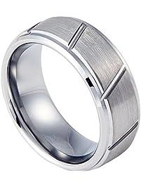 8mm tungsten carbide ring matte brushed size 7 15 - Wedding Rings Mens