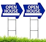 OPEN HOUSE Arrow Shaped Sign Kit - 2 Pack (includes 2 signs and 2 stakes) (Blue)