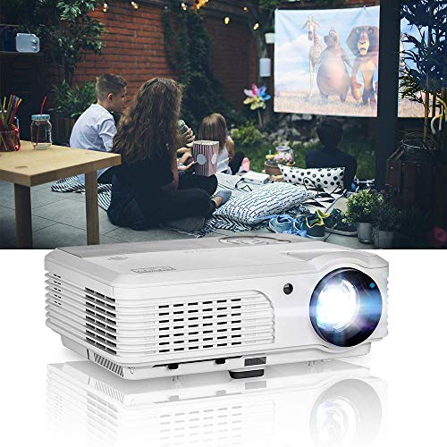 EUG HD Multimedia Video Projectors 1080P 1280x800 Native 4400 Lumen LCD LED Digital Home Theater Cinema Projector Portable with HDMI USB Ypbpr RCA  Audio Speakers Zoom Keystone Outdoor Movies Games