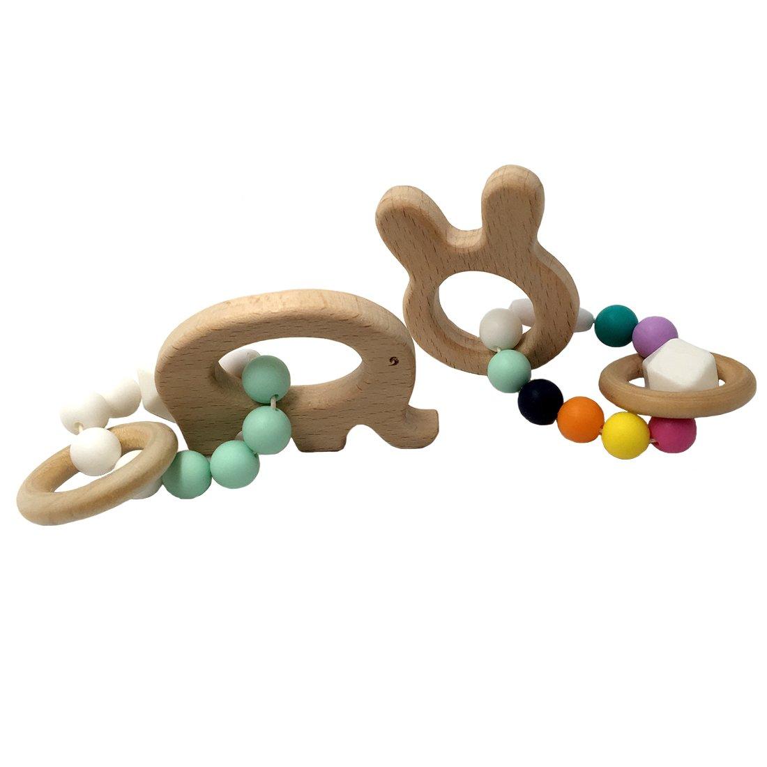 Coskiss Madera con forma de animales de la fiesta de los ni/ños de la joyer/ía de la pulsera para la dentici/ón mam/á para el beb/é org/ánico de los granos de silicio de madera del beb/é del brazalete S506