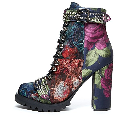 Jeffrey Campbell Lilith', blue, orange, purple, brocade patchwork combat boot