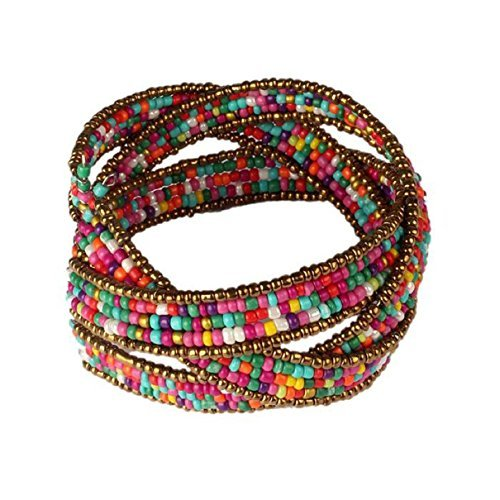 Doinshop New Useful Cute Nice Funny Hot Lady Bohemian Beaded Bangle Bracelet Multilayer Jewelry (colorful) (Necklace Bracelet Metal)