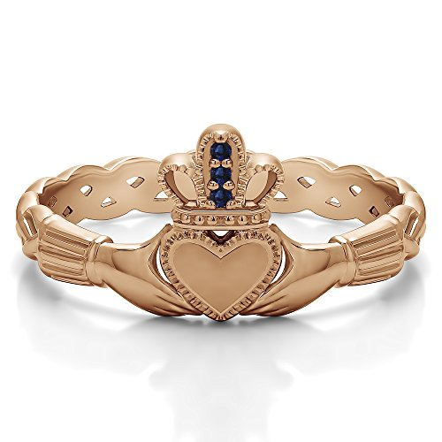 (Rose Plated Silver Sapphire .02 CT Sapphire Celtic Claddagh Ring (Size 3 To 15 1/4 Size Interval))