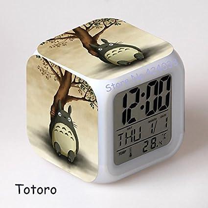 Alarma niños Reloj Totoro animado japonés de Catoon llevó el reloj digital de la vendimia del