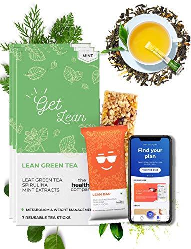 The Healthy Company Lean Natural One Week Weight Management Plan (Mint) Lean Bars 7x30g & Organic Natural Lean Green Tea (7X Reusable Mint Tea Sticks) – Diabetes, PCOD, Thyroid & Keto – Men & Women