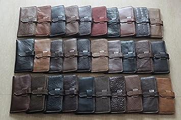 Cartera de cuero artesanal, monedero de cuero hechos a mano, hombre de la longitud de la primera capa de cuero de la versión vertical,Color random: ...
