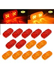 Supoika Trailer Marker LED Light 14 Pack Double Trailer Side Marker LED Light Bullseye 10 Diodes Clearance Lamps Red/Amber for Truck RV Boat Camper Trailers Pickups Jeep(7 Red & 7 Amber)