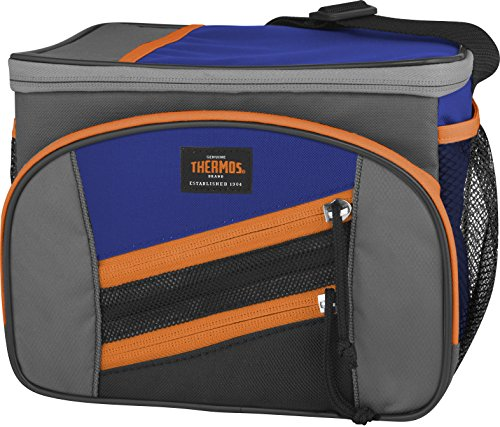 Thermos Highland 6 Can Cooler, Blue/Orange
