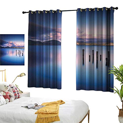 Thermal Insulated Drapes for Kitchen/Bedroom Apartment Decor Wooden Pier Tops Remain in Lake with Sunset Mirror Image Out Different Perspectives Darkening and Thermal Insulating 55