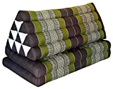 Thai triangle cushion XXL, with 2 folding seats, brown/green, sofa, relaxation, beach, pool, meditation, yoga, made in Thailand. (82017)