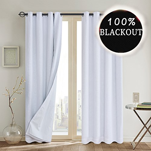 Primitive Linen Look,100% blackout curtain(with Liner) White blackout curtains& Blackout Thermal Insulated Liner,Grommet Curtains for Living Room/Bedroom,burlap curtains-Set of 1 Panel(50x108 White)
