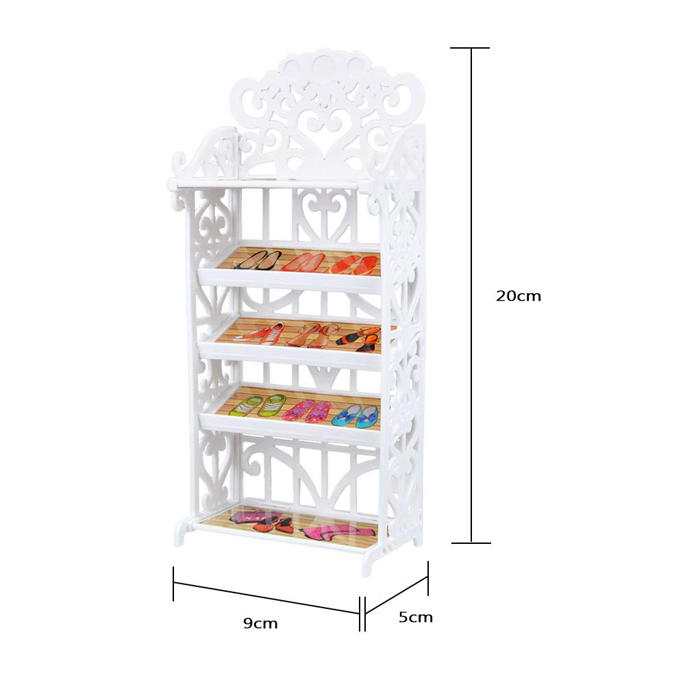 E-TING Dollhouse Furniture Accessories Playset for Girl Doll (Shoes Shelf with 20 Pairs Shoes)