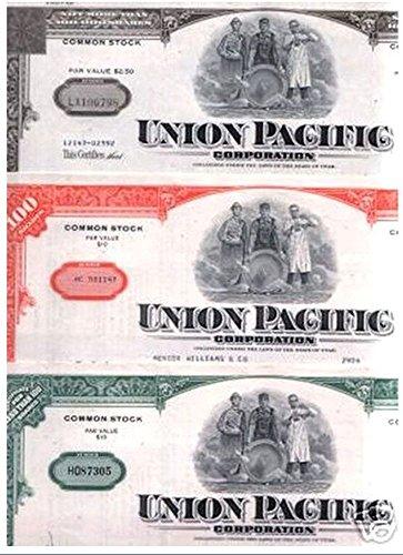 Pacific Railroad Stock - 1970 SUPER NICE UNION PACIFIC STOCK CERTIFICATE! 3 COLORS AVAILABLE @ $9.99 EACH! FREE SUPER BONUS WITH ALL 3! 100 SHARES Choice About Uncirculated