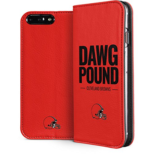 Skinit Cleveland Browns iPhone 8 Plus Folio Case - Officially Licensed NFL Phone Case - Faux-Leather Wallet iPhone 8 Plus Cover