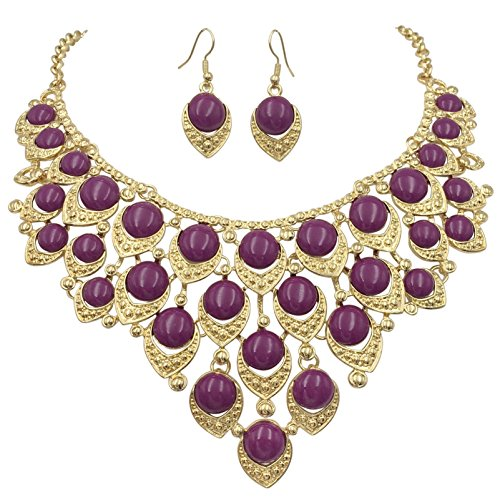 Gypsy Jewels Teardrop Dot Cluster Statement Bib Boutique Style Necklace & Earrings Set - Assorted Colors (Purple)