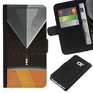 Protector de cuero de la PU de la cubierta del estilo de la carpeta del tirón BY RAYDREAMMM - Samsung Galaxy S6 EDGE - Nueva Esperanza