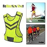 Vbestlife. Chaleco Reflectante para Correr Alta Visibilidad Chaleco de Seguridad Ajustable Equipo para Deportes al Aire Libre Trotar, Andar en Bicicleta, Caminar, Andar en Motocicleta