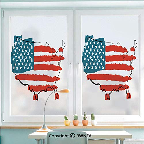 RWNFA Window Glass Sticker Door Mural Paintbrush Stylized States Map with Sketch Lines Over It Cultural Design Static Cling Privacy No Glue Film Home Decorative 22.8x35.4inch,Slate Blue Red White